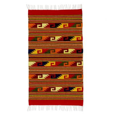 Zapotec wool rug, 'Wave Frieze' (2.5x5) - Mexican Zapotec Area Rug (2.5x5)