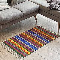 Zapotec wool rug, 'The Colors of My Village' (2x3.5)