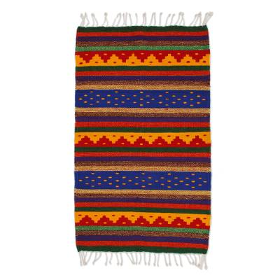 Zapotec wool rug, 'The Colors of My Village' (2x3.5) - Zapotec wool rug (2x3.5)