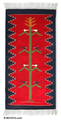 Zapotec wool rug, 'Tree of Life' (3x5) - Fair Trade Red Wool Bird Rug from Mexico (3x5)