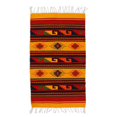 Zapotec wool rug, 'Morning Stars' (2x3.5) - Zapotec Wool Rug 2 X 3 Hand Loomed in Mexico