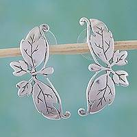 Sterling silver drop earrings, 'Butterfly Romance' - Silver Butterfly Earrings from Mexico