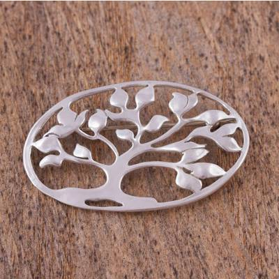 Sterling silver brooch pin, 'Majestic Tree' - Sterling silver brooch pin