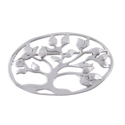 Sterling silver brooch pin, 'Majestic Tree' - Sterling silver brooch pin