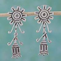Sterling silver dangle earrings, 'Windmills' - Sterling silver dangle earrings