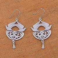 Sterling silver dangle earrings, 'Songbirds' - Sterling silver dangle earrings