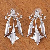 Sterling silver dangle earrings, 'Silver Tulips' - Floral Sterling Silver Dangle Earrings