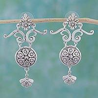 Sterling silver dangle earrings, 'Hearts and Flowers' - Romantic Sterling Silver Dangle Earrings