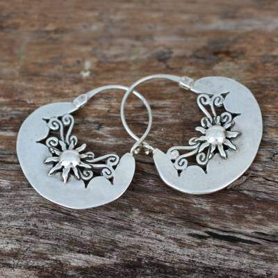 Sterling silver hoop earrings, 'Sun Renaissance' - Handcrafted Sterling Silver Hoop Earrings from Mexico