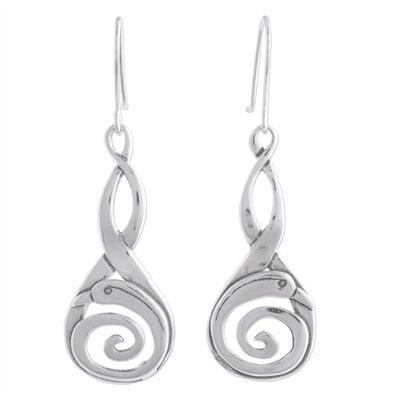 Sterling silver dangle earrings, 'Silver Swan' - Unique Sterling Silver Abstract Bird Earrings from Mexico