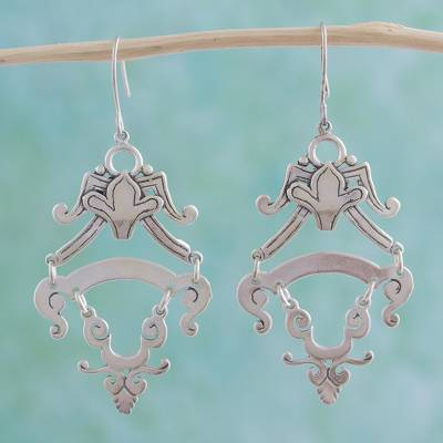 Sterling silver dangle earrings, 'Colonial Queen' - Sterling silver dangle earrings