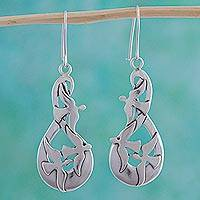 Sterling silver dangle earrings, 'Message of Peace' - Sterling Silver Dove Earrings