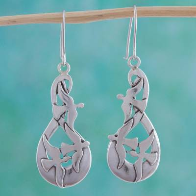 Sterling silver dangle earrings, 'Message of Peace' - Collectible Sterling Silver Bird Earrings