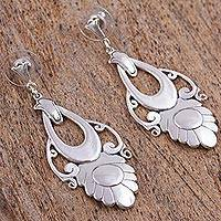 Sterling silver dangle earrings, 'Priestess' - Handmade Floral Sterling Silver Earrings