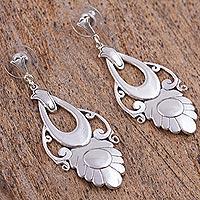 Earrings, 'Priestess' - Handmade Floral Sterling Silver Earrings