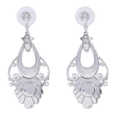 Sterling silver dangle earrings, 'Priestess' - Handmade Floral Sterling Silver Earrings