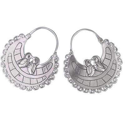 Sterling silver hoop earrings, 'Birds In Love' - Unique Sterling Silver Hoop Bird Earrings