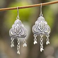 Sterling silver chandelier earrings, 'Many Moons' - Handcrafted Moonbeams Sterling Silver Chandelier Earrings