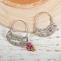 Sterling silver hoop earrings, 'Dancing River'