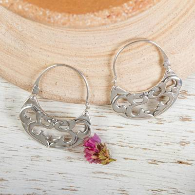 Sterling silver hoop earrings, 'Dancing River' - Silver Hoop Earrings Handmade in Mexico