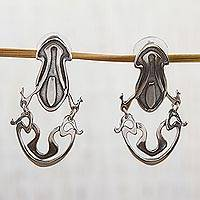 Sterling silver dangle earrings, 'Silver Ribbons' - Artisan Crafted Sterling Silver Dangle Earrings