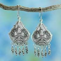 Sterling silver chandelier earrings, 'Gypsy' - Romantic Mexican Sterling Silver Chandelier Earrings