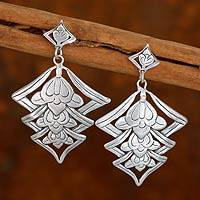 Sterling silver flower earrings, 'Floral Lanterns' - Sterling silver flower earrings