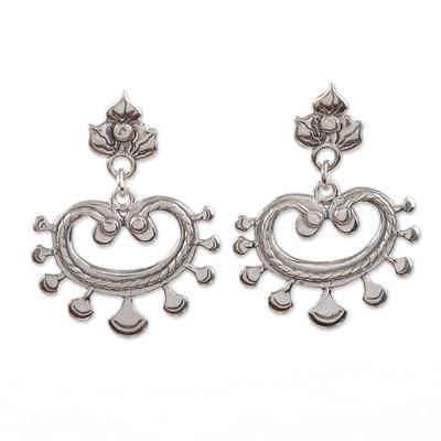 Sterling silver dangle earrings, 'Shining Illusion' - Unique Floral Sterling Silver Dangle Earrings