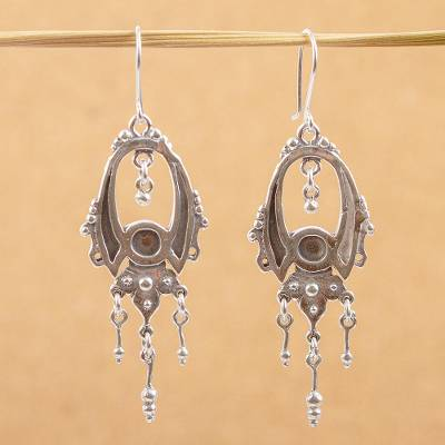 Sterling silver dangle earrings, 'Fortune' - Handcrafted Sterling Silver Chandelier Earrings
