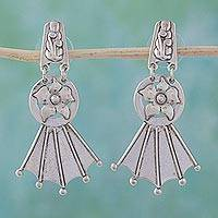 Sterling silver flower earrings, 'Floral Fan' - Vintage Look Sterling Silver Flower Earrings