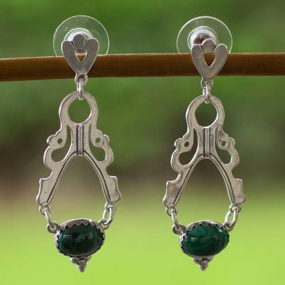Malachite dangle earrings, 'Diaphanous' - Malachite dangle earrings