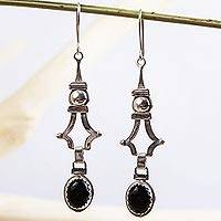 Onyx dangle earrings, 'Eye of the Night' - Onyx Sterling Silver Dangle Earrings Mexico