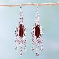 Carnelian chandelier earrings, 'History's Promise' - Carnelian chandelier earrings