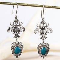 Turquoise dangle earrings, 'Union' - Unique Handcrafted Turquoise Earrings from Mexico