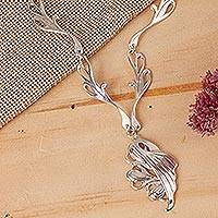 Sterling silver pendant necklace, 'Angel Wings' - Hand Made Sterling Silver Art Nouveau Necklace