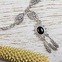 Onyx choker, 'Night Star' - Silver Necklace with Oval Onyx Centerpiece