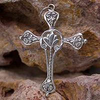 Sterling silver pendant, 'Fleur-de-Lis Cross' - Handcrafted Mexican Cross Sterling Silver Pendant