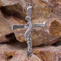 Sterling silver pendant, 'Autumn Cross' - Religious Hand Crafted Sterling Silver Cross Pendant