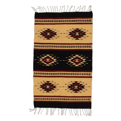 Zapotec wool rug, 'Sixth Sun' (2x3.5) - Unique Geometric Wool Rug (2x3.5)