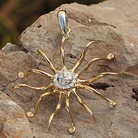 Gold plated pendant, 'Peaceful Sun' - Gold Accent Silver Sun Pendant