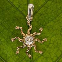 Gold plated sterling silver pendant, 'Sizzling Sun' - 22k Gold Plated Sterling Silver Sun Pendant from Mexico