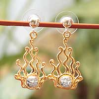 Gold plated sterling silver dangle earrings, 'Setting Sun' - Gold Plated Sterling Silver Dangle Earrings