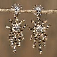 Gold accented sterling silver dangle earrings, 'Mexican Sun' - Gold Accented Sterling Silver Sun Earrings