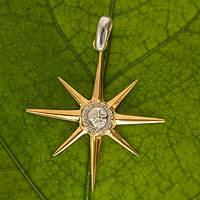 Gold plated sterling silver pendant, 'Magnificent Star' - 22k Gold Plated Sterling Silver Star Pendant from Mexico