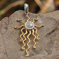 Gold plated pendant, 'Mexican Sun' - Gold plated pendant