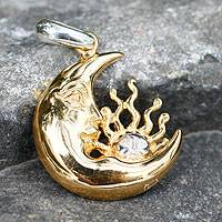 Gold plated sterling silver pendant, 'Cosmic Lullaby' - Hand Made Sun and Moon Gold Plated Silver Pendant