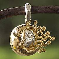 Gold plated pendant, 'Dual Eclipse' - Sterling Man in the Moon and Sun Pendent with Gold Accent