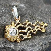 Gold plated sterling silver pendant, 'Swept Away Sun' - Mexican Gold Accent Pendant