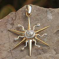 Gold plated pendant, 'Guardian Sun' - Astrology 22k Gold Silver Artisan Pendant