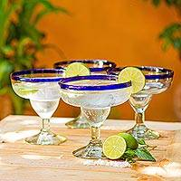Margarita glasses, 'Happy Hour' (set of 4) - Blue Rimmed Margarita Glasses Set of 4